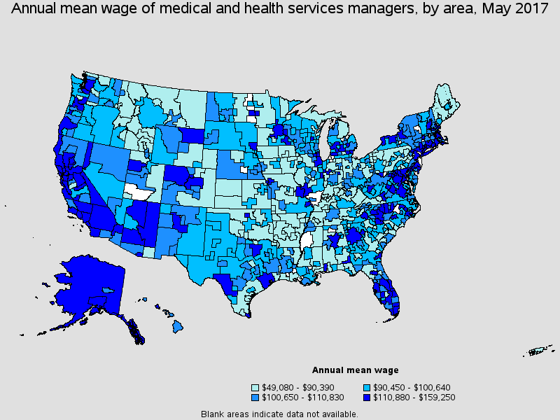 Healthcare Administration Salary Region